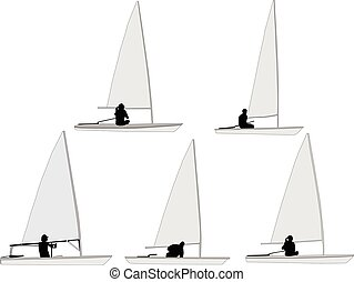 sailboat - vector - illustration of sailboat 2 - vector