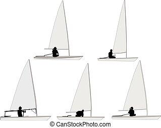 sailboat - vector - illustration of sailboat 2 - vector