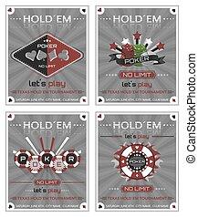 Set of poker vintage background. - Set of holdem poker...