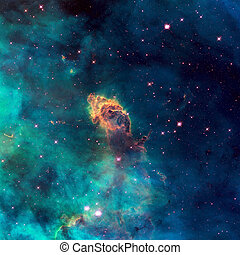 Universe filled with stellar jet, stars, nebula and galaxy....