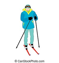 Skier amateur - Vector skier amateur young student isolated...