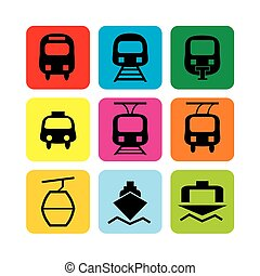transportation icons - Vector set icons: bus, train, taxi,...