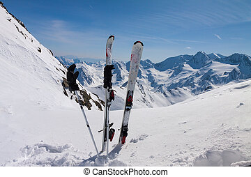 ski equipments on snow slope - Skiing, winter season ,...