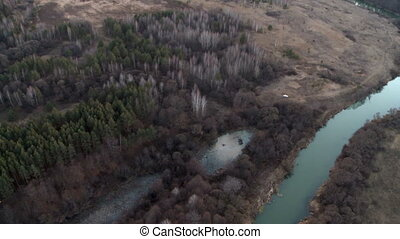 Landscape aerial shot. - Landscape with river and sunset...