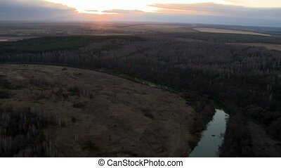 Landscape aerial shot - Landscape with river and sunset...