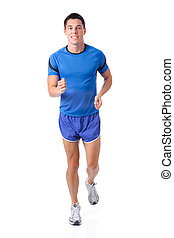 Just running - Full isolated studio picture from a young...