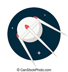 Satellite, Flat design, vector illustration, isolated on...