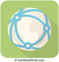 Global network icon flat design with long shadows