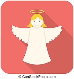 Christmas angel icon flat design with long shadows