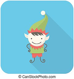 Elf icon flat design with long shadows