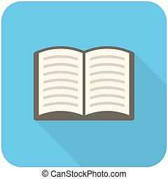 Book icon, modern flat icon with long shadow