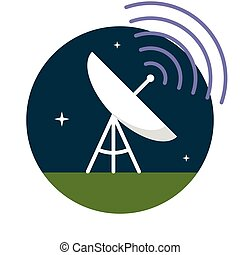 Satellite dish, Flat design, vector illustration, isolated...