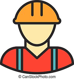 Worker Outline Icon - Construction worker, vector...