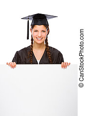 Graduate woman - Full isolated studio picture from a young...