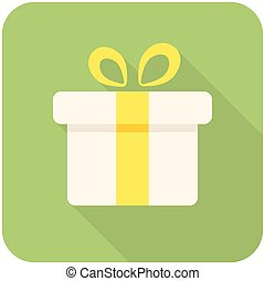 Gift box icon flat design with long shadows