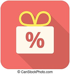 Discount icon flat design with long shadows