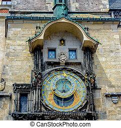 fim, cima, de, a, famosos, astronômico, relógio, Praga