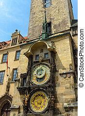 astronômico, relógio, Praga, tcheco, república