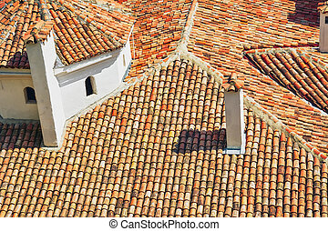 Old Tiled Roof - Tiled Roof from Terracotta Tiles of an Old...