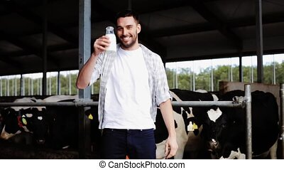man or farmer drinking cows milk on dairy farm - agriculture...
