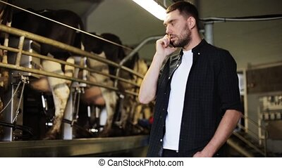 man calling on cellphone and cows at dairy farm -...