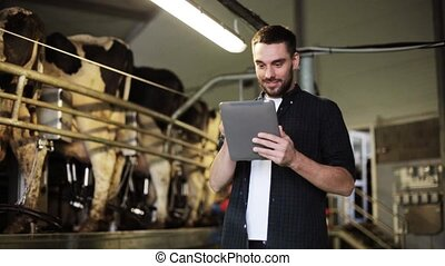 young man with tablet pc and cows on dairy farm -...