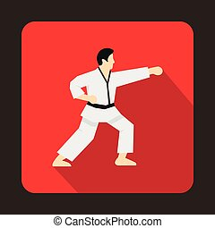 Karate fighter icon, flat style - icon in flat style on a...