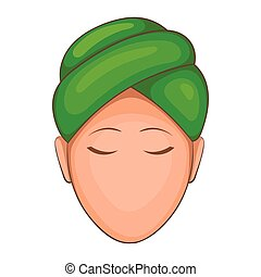 Woman with green towel on her head icon