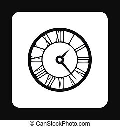 Round clock with roman numerals icon, simple style