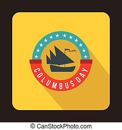 Columbus day badge icon, flat style - Columbus day badge...
