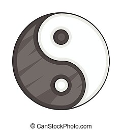Ying yang icon, cartoon style - Ying yang icon in cartoon...