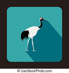 Japanese crane icon, flat style - Japanese crane icon in...