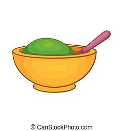 Yellow mortar and pestle icon, cartoon style - Yellow mortar...