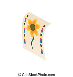 Flower printed on printer icon, cartoon style - Flower...