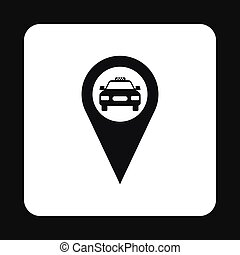 Geo taxi icon, simple style - Geo taxi icon in simple style...