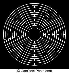 Maze Circle Vector Illustration. White Maze on Black...