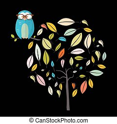 Owl on Tree. Night Scene with Owl on Abstract Leaves Tree on...