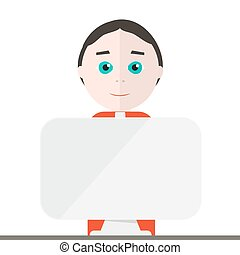 Man With Computer. Vector Businessman or Presenter with...