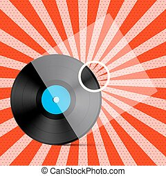 Vintage Retro Vector Red Background with Vinyl LP Record on Transparent Cover