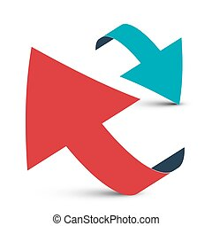 Arrows - 3D Red and Blue Arrow Logo Design Isolated on White...
