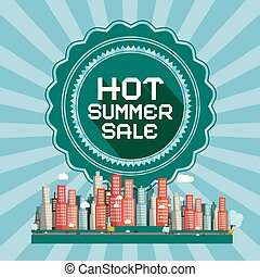Hot Summer Sale Retro Vector Card with City