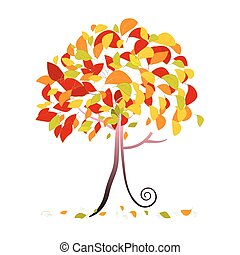 Tree Illustration - Abstract Vector Autumn Tree with Falling Leaves Isolated on White Background