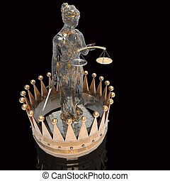 Themis goddess of justice with golden crown 3d rendering -...