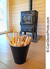 bucket of wood for the fireplace
