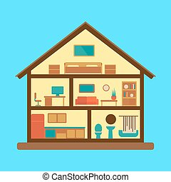 House section plan flat style colorful vector