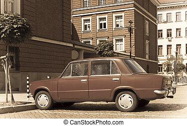Retro Eastern Uropean car town