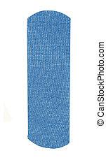 blue adhesive bandage on a white background