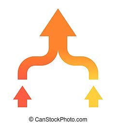Mergers and acquisitions concept with arrows in flat style