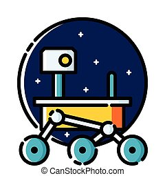 Mars Rover, colored outline icon.