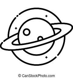 planeta, saturno, en, espacio